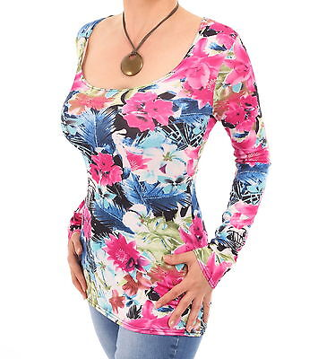 New Floral Scoop Neck Stretchy Top - Long Sleeve