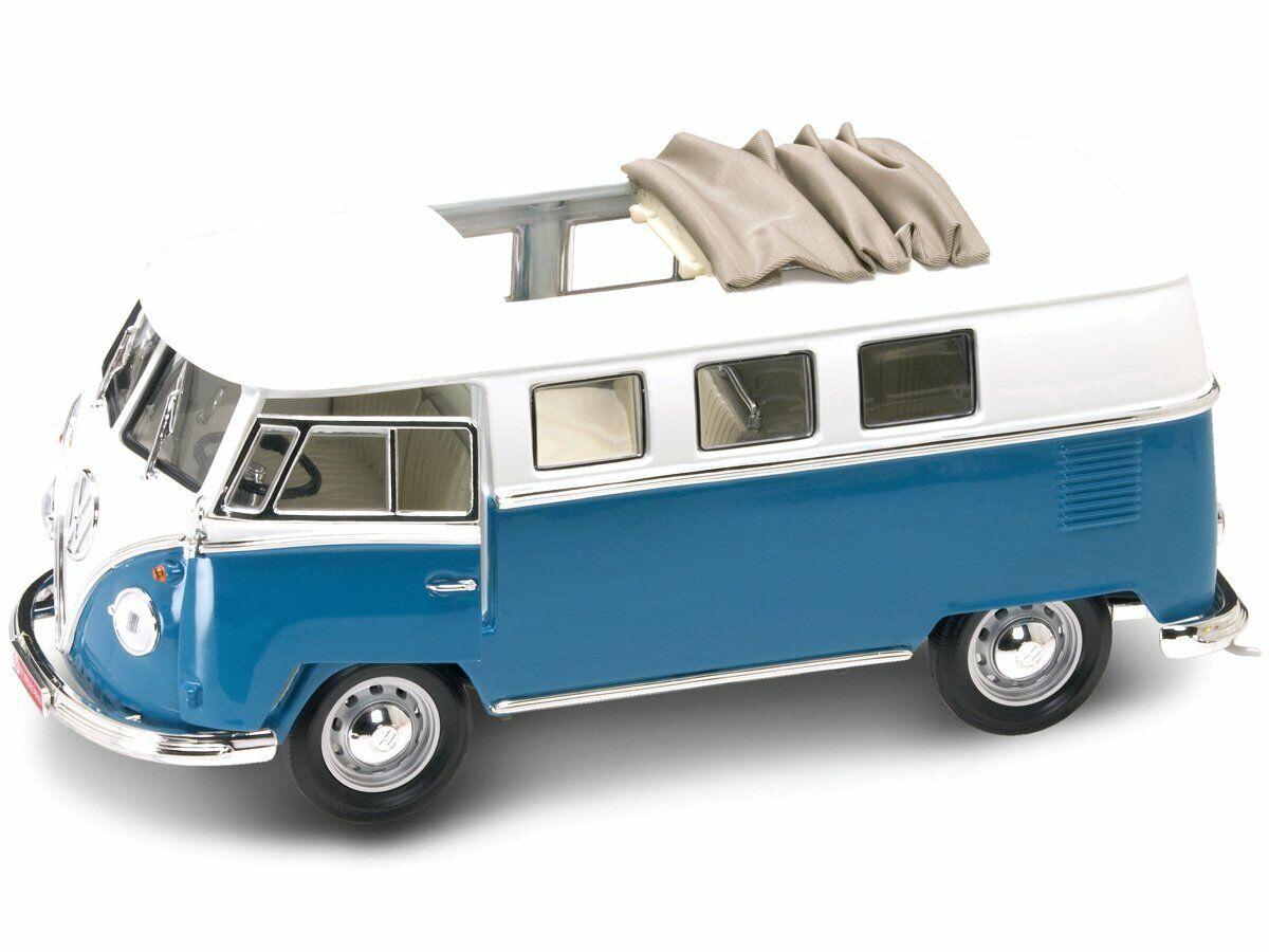 Yatming 92327B. Volkswagen Microbus blu. Escala 1 18 Metálico