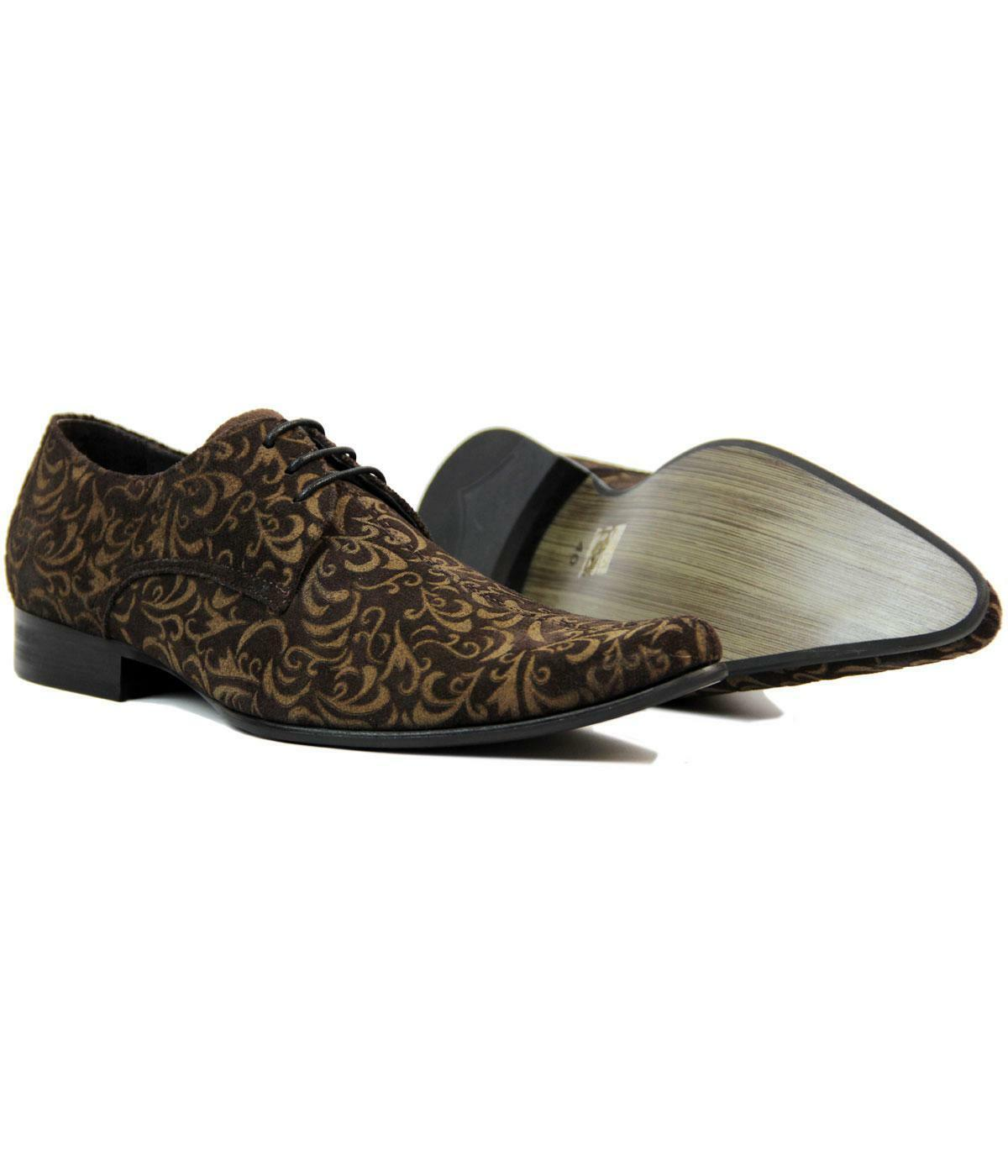NEW MADCAP MOD RETRO MOD SIXTIES PAISLEY SUEDE SHOES Winklepickers 60s JAG Brown