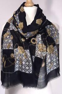 Cashmere Feel Scarf Pashmina Grey /& White Designer Inspired Oversized Soft NEW