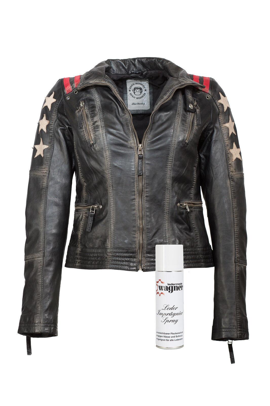 Lederjacke Damenjacke Bikerjacke schwarz Sterne Monkey Blau