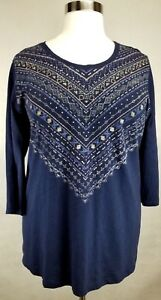 CATHERINES-WOMEN-039-S-NAVY-BLUE-GOLD-PRINTED-3-4-SLEEVE-KNIT-TOP-PLUS-3X-26-28W
