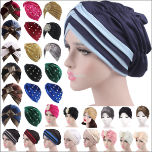 Women-Flower-Ruffle-Turban-Head-Wrap-Hat-Chemo-Muslim-Hijab-Pleated-Indian-Cap