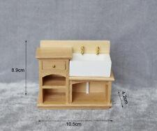 Dollhouse Miniature Furniture Wood Kitchen Bathroom Sink Cabinet Wash Basin 1:12