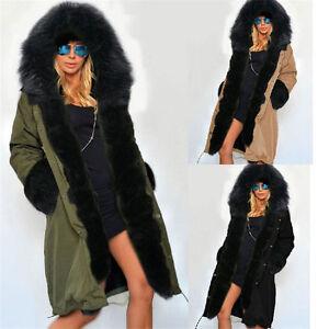US Women Warm Winter Faux Fur Overcoat Hooded Parka Coat Long ...