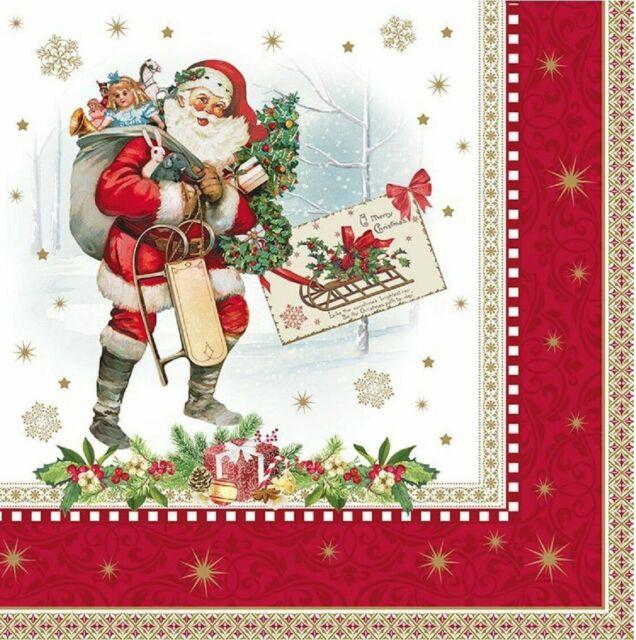 Napkin Art Santa /& Presents Ideal for decoupage 4 x Paper Napkins