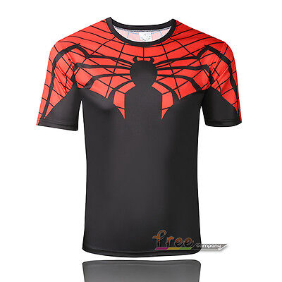 Mens Boy Compression Sports Gym T-shirts Superhero Costume Jersey Tops Tee Shirt