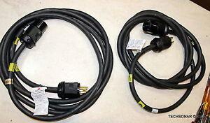 Lot-of-Two-EMC-038-003-438-Chord-30A-250V-15Ft-w-HBL2623EBK-and-HBL2621EBK