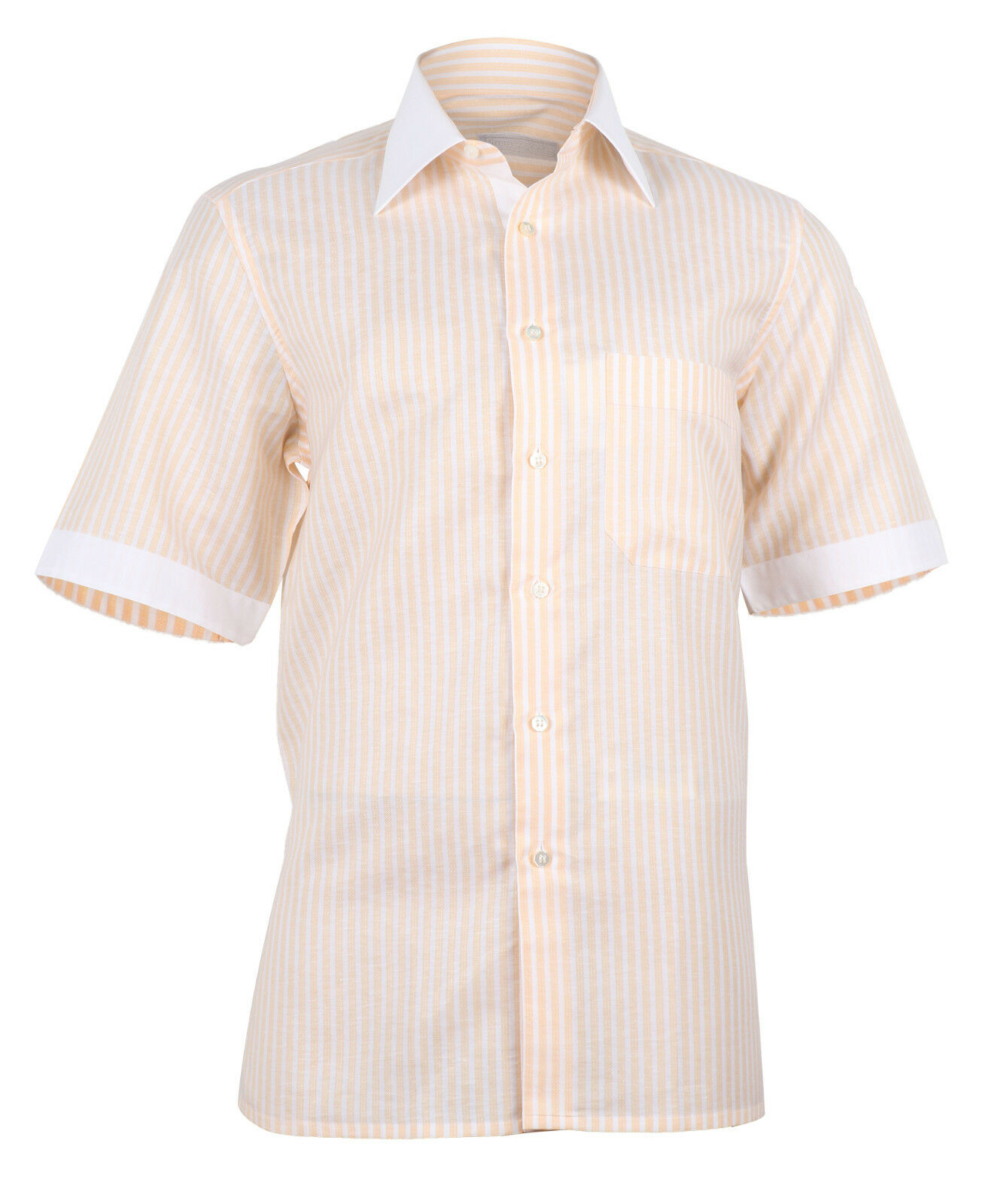 Stefano Ricci Men's Peach White Linen Cotton Couture Shirt Short Sleeve
