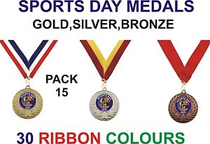 PACK-OF-15-0-86p-each-Sports-Day-Medals-Ribbon-Metal-50mm-Ref-GMM7050-MR1