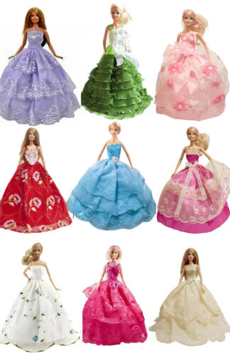 15-Piece Dress 5 Handmade Party Ball Wedding Gown 10 Shoes for 11.5 inches Dolls
