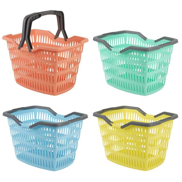 25 Litre Laundry Basket With Folding Handles Storage Washing Bin Plastic Large