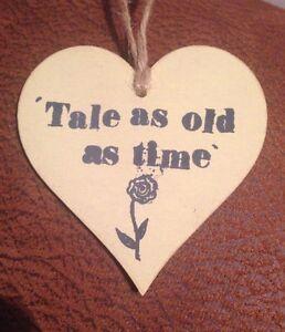 """tale As Old As Time"" Beauty And The Beast En Bois Coeur Avec Rose Stamp-afficher Le Titre D'origine"