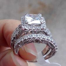 3.5ct Princess White CZ 925 Sterling Silver Engagement Wedding Ring Set Size 8