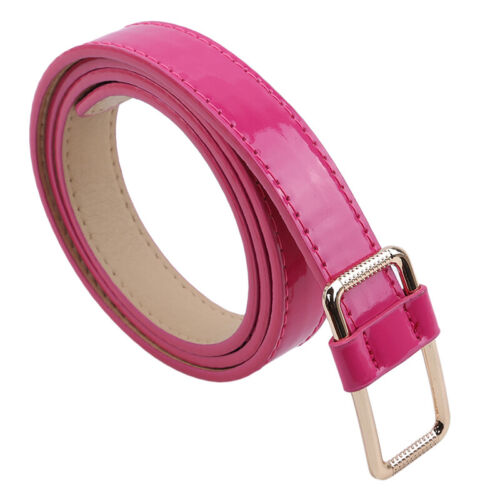 Women/'s Leather Belts Candy Color Thin Skinny Waistband Adjustable ONE