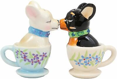 """Ebros Ceramic Kissing Mexican Chihuahua Pet Salt /& Pepper Shaker Set Decor 4/""""L"""