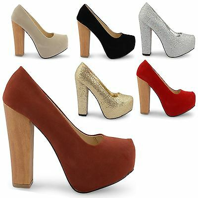 NEW LADIES PLATFORM WOODEN HIGH HEEL ROUND TOE SLIP ON COURT SHOES SIZE UK 3-8