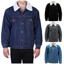 Men's Denim Sherpa Jacket Classic Cotton Button Up Fleece Lined Trucker Jean