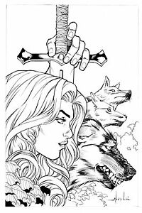 RED SONJA AND WOLFS BY ALEX LEI- ART PINUP Drawing Original