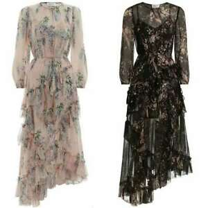 Womens-Floral-100-Silk-Wisteria-Print-Falbala-Long-Maxi-Dress-Bohemia-Dress