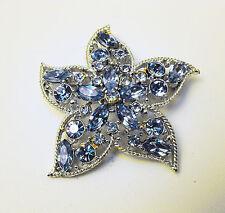 Vintage Sarah Coventry Pastel Blue Rhinestone Star Flower Brooch