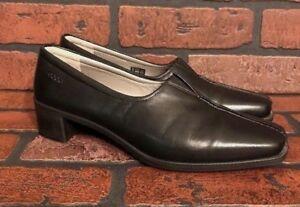 ECCO-Black-Leather-Casual-Low-Heels-Platform-Women-s-Shoes-Size-US-7-5-EUR-38-A
