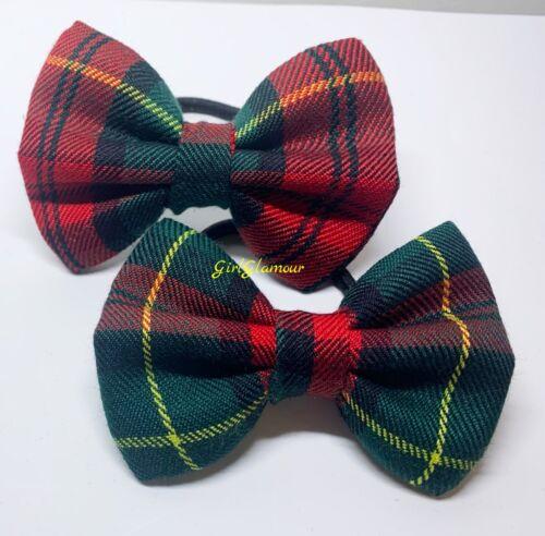 Scottish Stewart Bow Bobbles Bandeau Tartan Rouge Tissu Cheveux Bande Burns Night