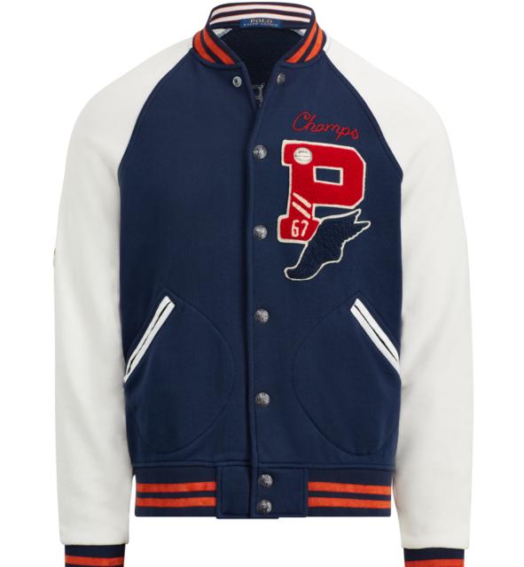 Ralph Lauren Damen College Baseball Sweatshirt Jacke Blau