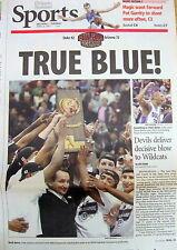 2001 newspaper DUKE WINS NCAA basketbal Championship vs ARIZONA  Mike Krzyewski