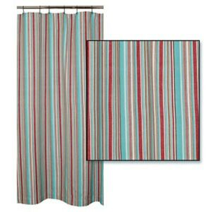 Hampton Cove Coastal Stripe Cotton Shower Curtain Turquoise White Red Brown Ebay