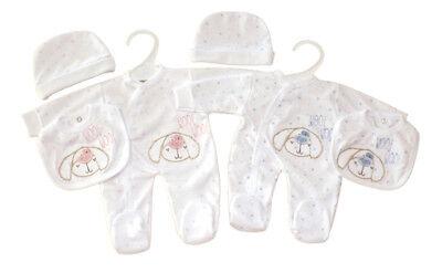 Premature Baby  Clothes Layette Tiny Sleepsuit Bib Hat 3 piece set 3-5lb 5-8 lb