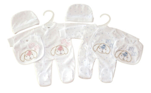 Ropa de bebé prematuro Layette pequeño Pelele babero Sombrero 3 piezas conjunto 3-5lb 5-8 lb