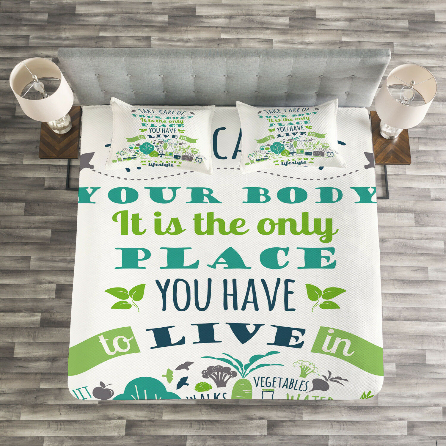 Fitness Quilted Bedspread & Pillow Shams Set, Positive Life Phrase Print