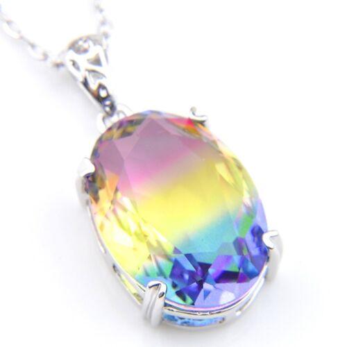 13x18mm Oval Fire Rainbow Bi-Colored Tourmaline Silver Pendant Chain Necklace