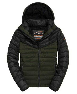 Superdry Men's Tweed Mix Fuji Quilted jacket Black 12A Sizes: S 3XL | eBay