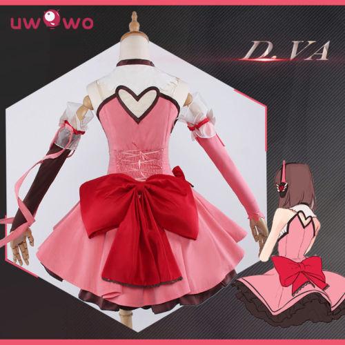 DVA Cosplay D.VA Game OW Kawaii Girl UWOWO Pink Dress Costume Magic Girl D.va C!