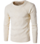 Men Cotton Blend Solid Knitting Pullover Sweater Formal Casual Thick Scoop Neck