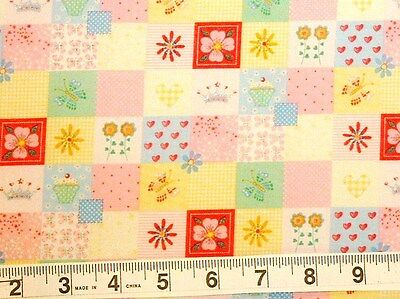 Fairy Princess block print patchwork quilt top back cotton quilting fabric BTY