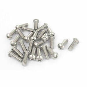 25pcs-1-4-034-20x3-4-034-Stainless-Steel-Hex-Socket-Button-Head-Bolts-Screws