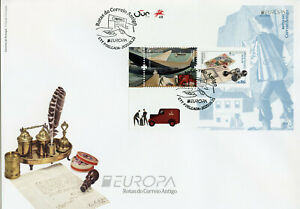 Portugal-Azores-Europa-Stamps-2020-FDC-Ancient-Postal-Routes-History-2v-M-S