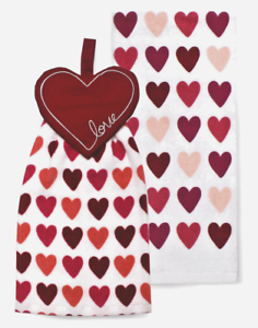 NEW-Celebrate-Valentine-039-s-Day-Together-Heart-Button-Top-Kitchen-Towel-2-Set-Dish