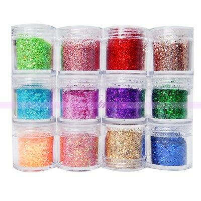 Mixed Size Glitter Hexagon Powder Dust Nail Art UV Acrylic Tips Decor Big Jars