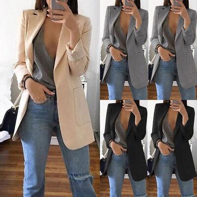 Women Suit Top Ladies LongSleeve Cardigan Casual Blazer Suit Jacket Coat Outwear