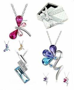 Halskette-Anhaenger-Zirkonia-Kristall-Libelle-Schmetterling-Blume-Glueck-Geschenk