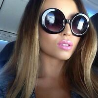 Large Oversized Round Sunglasses Thick Frame Black and Brown Lens Women Fashion