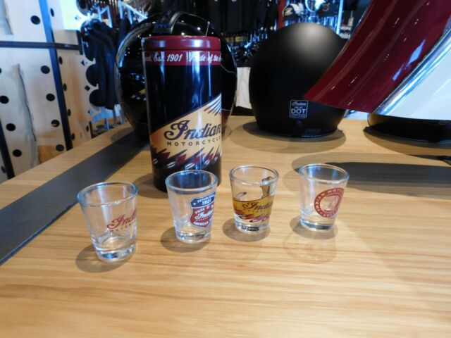 Indian Motorcycle Shotglasses With Collector Tin  Set of 4 All Different Designs