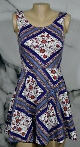 DIVIDED-H-amp-M-Ivory-Blue-Magenta-Orange-Floral-Geometric-Sleeveless-Dress-6