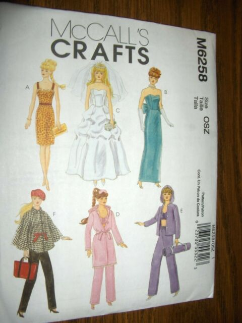 "Barbie Doll 11-1/2"" New McCalls 6258 Pattern PJs Robe Wedding Dress Yoga"