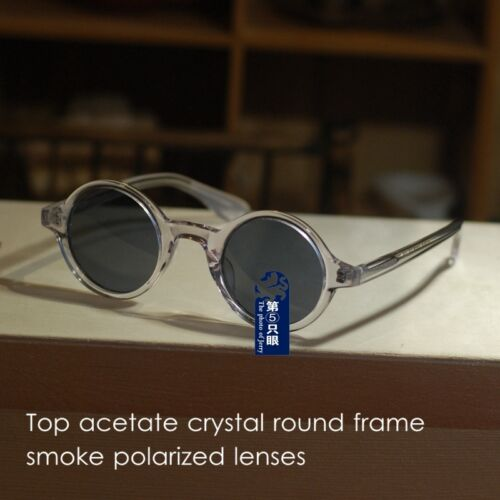 Round Johnny Depp polarized sunglasses vintage mens crystal glasses black lenses