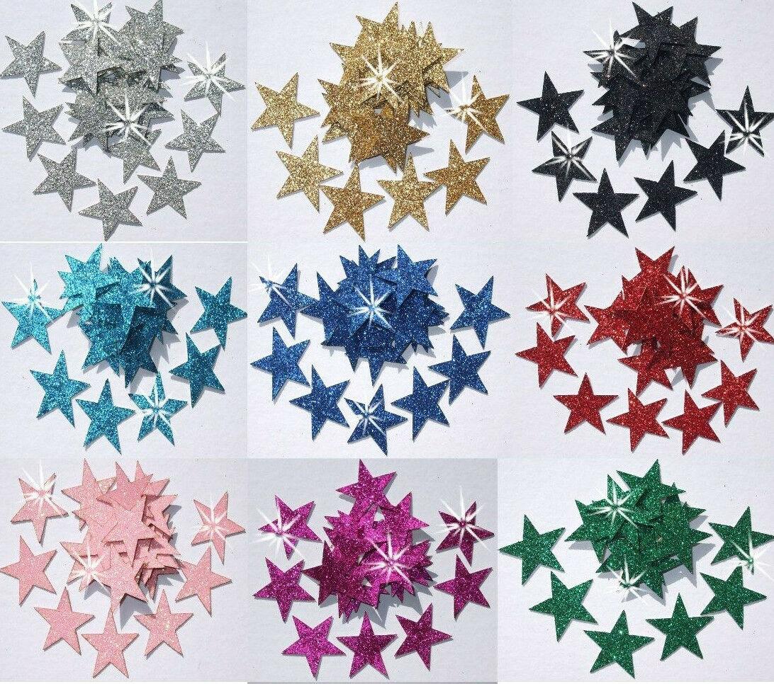 FABRIC GLITTER 1 inch 25mm STARS IRON-ON HOTFIX DIY CRAFT TSHIRT TRANSFER PATCH